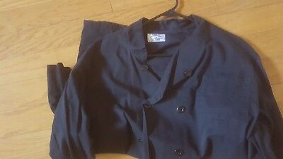 2 Long Sleeve Chef Coats Black Jacket Men's XL