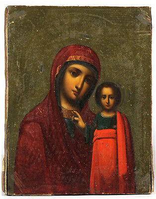 c1900 ANTIQUE RUSSIAN ORTHODOX ICON OUR LADY OF KAZAN MOTHER OF GOD VIRGIN MARY