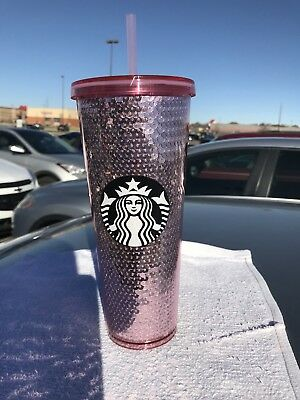 ~NEW 2017 STARBUCKS Cold Cup~Rose Gold Pink SEQUINS~Tumbler 24 oz VENTI~Limited!
