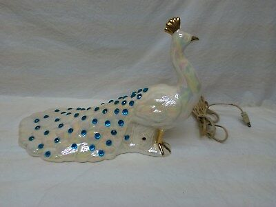 Vintage Iridescent White w Blue Gems PEACOCK TV Table Lamp Pottery Ceramic