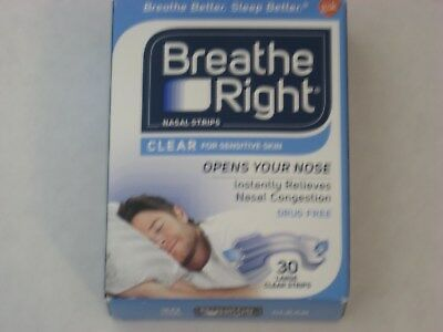 NIB Breathe Right Nasal Strips Clear for Sensitive Skin 30 Large Strips Nose