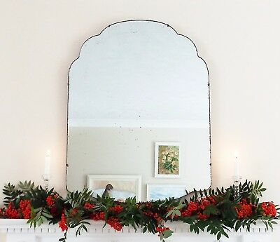 Art Deco Mirror, Frameless Curved Overmantle Antique Mirror M236
