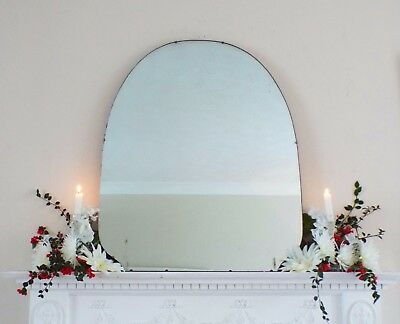 Art Deco Mirror, Frameless Curved Overmantle Antique Mirror M371