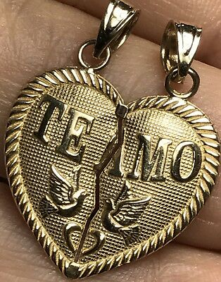 "GOLD TE Amo TeAmo 14k Heart Broken Yellow  2 Pc Split Pendant Charm 1"" 1.7g"
