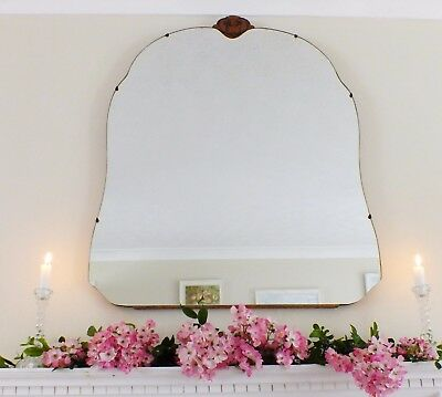 Art Deco Mirror, Frameless Curved Overmantle Antique Mirror M175