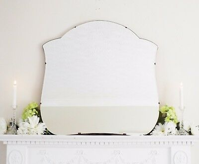 Art Deco Mirror, Frameless Curved Overmantle Antique Mirror M327