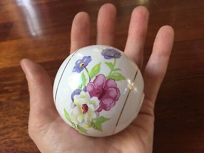 Large Antique Vintage White Porcelain Floral Flowers Ceramic Ball Door Knob