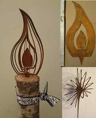 Sonderaktion!!! 25cm 3D Effekt Feuer Design Rost Deko Metall Flamme Kerze Advent