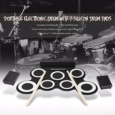 Foldable Silicone Drum Set Professional 7 PADS 2 Pedals DrumStick High Rate 2017
