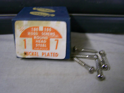 """#7 x 1"""" Nickel Plated Wood Screws Round Head Slotted Made in USA  Qty.100"""