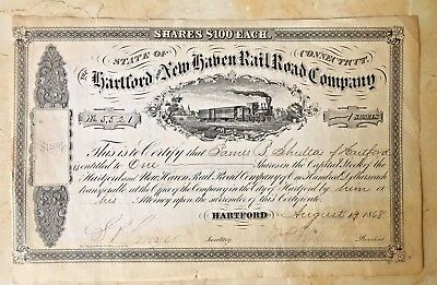 The Hartford and New Haven Rail Road Company 1868  UN-CANCELED Stock Certificate