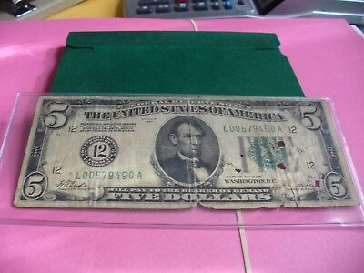 1928 Circulated Five Dollar $5 Gold Certificate