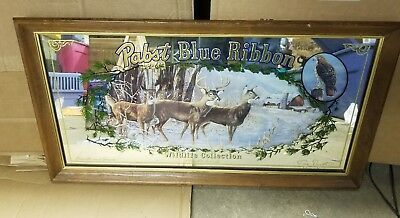 Pabst Blue Ribbon Beer Sign Mirror 1991 Whitetails Deer Limited Edition Wildlife