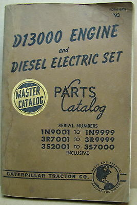 Caterpillar D13000 Engine & Diesel Electric Set Parts Catalog Ser #see Lsting Gd
