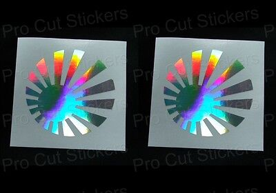 Round Rising Sun x2 JDM Silver Hologram Neo Mirror Chrome Car Stickers Decals
