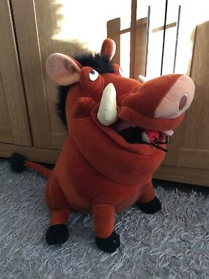 """Disney The Lion King Pumbaa 17"""" Plush Soft Toy Teddy With Bugs"""