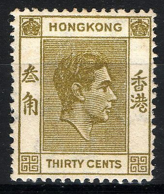 Commonwealth Hong Kong 1938 KGVI 30c Yellow Olive mint stamp MM