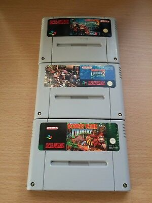 Jeux Super Nintendo Snes Pack Complet Donkey Kong Country 1 2 3 !!! PAL