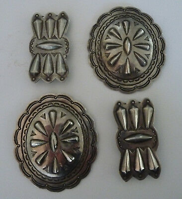 Four Vintage Native American Navajo Indian Stamped Design Silver Conchos