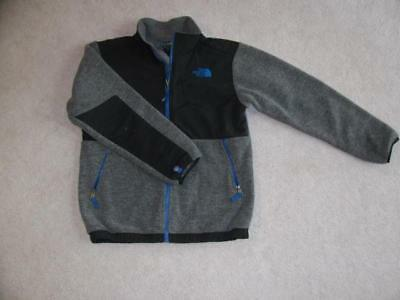 NORTH FACE Charcoal Gray Black Denali Fleece Jacket Boys Size Large 14/16 Nice