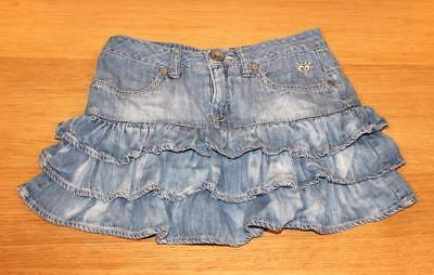 JUSTICE Denim Jean Ruffle Skirt Girls 10 R Button Front Built-in Shorts
