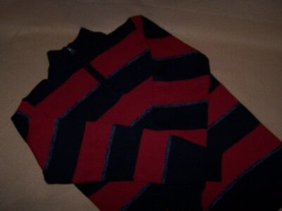 Boys Sweater Red Black Silver 3/4 Zip Mock Neck Sz 14 Large NWT Christmas