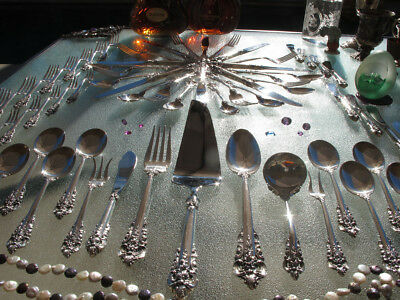Large Wallace Grand Baroque Sterling Silver Flatware Old Set Servers Heavy Great