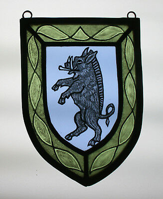 Stained Glass,Hand Painted,Kiln Fired, Wild Boar Heraldic Shield Panel, 1303-04