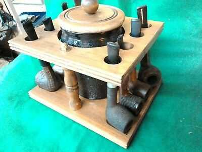8 Vintage pipes stand and dunrite duraglas humidor