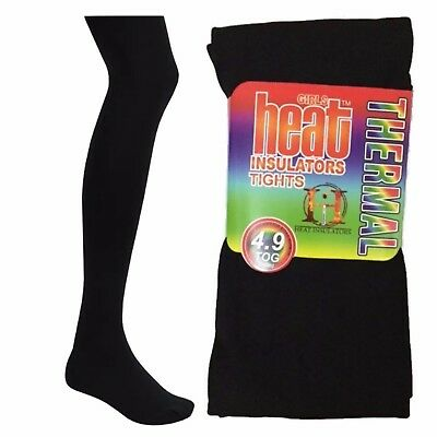 New Kids Black Heat Insulating 4.9 Tog Thermal Fleece Lined Warm Girls Tights