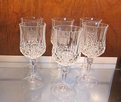 """Set of 6 CRISTAL D'ARQUES Longchamp Water Wine Goblet 24% Lead Crystal  7 1/4"""""""