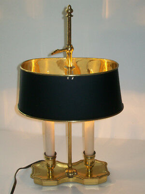 Vintage Brass Bouillotte Candlestick Chamber Lamp Brass & Black Tole Shade