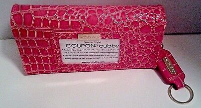 Coupon Organizer Fuchsia Pink Card Cubby Removable Shoulder Strap with Key Fob
