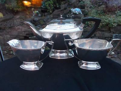 Art Deco Silver Plated Vintage Art Deco 3 Piece Teaset In Lovely Condition