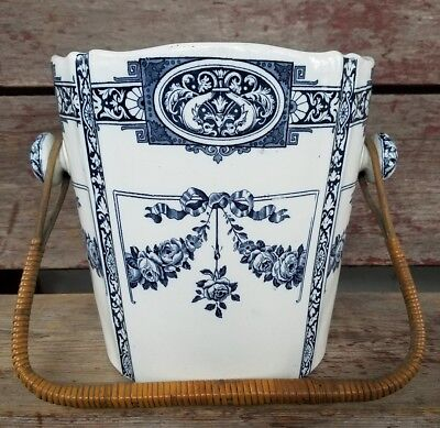 Vintage WEDGWOOD Chamber Pot Slop Pail Champagne Bucket w/Insert& Bamboo Handle!