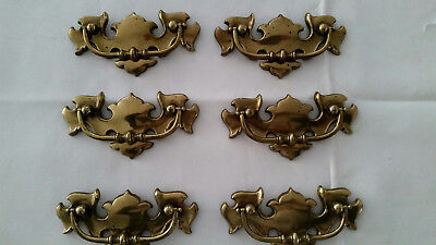 Lot Of 6 Vintage Brass Drawer Pulls Made In Canada