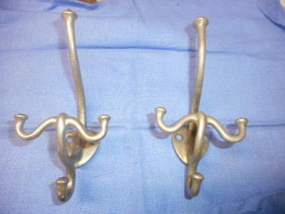 Pair Vtg  Nickel Brass Double Hooks Robe Coat Hat  Old Antique Bathroom