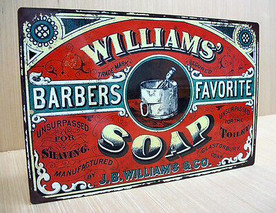 Williams Shaving Soap Vintage Style Sign Double Edge Razor Feather Gillette
