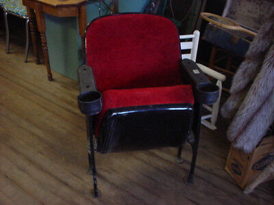 antique theater seat cast iron with cup holders