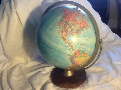 Vintage Replogle  Globe World Classic Series Dark Wood Base Metal Axiss