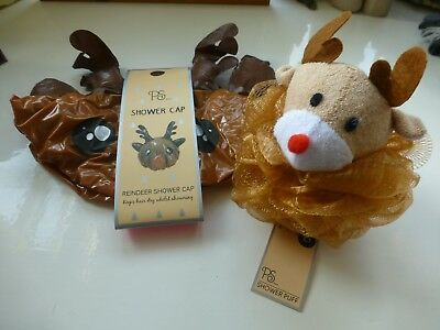 REINDEER Christmas Shower Cap Bath Scrunchie Body Puff GIFT SET  Novelty Girls