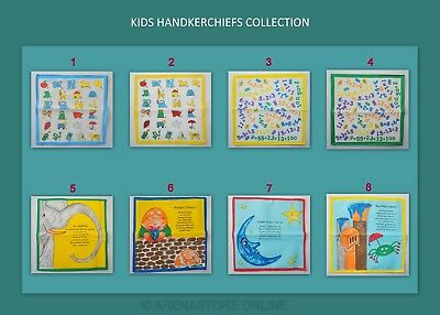 12 Childrens Kids Boys Girls 100% Cotton Handkerchiefs Printed Learning Hanky