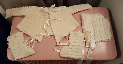 Vintage, Baby Clothes - Ruffled Bonnet, Sweater, and Booties, Cream, circa 1913