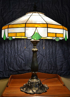Vintage Antique Water Lily Base Yellow and Green and White Stained Glass Lamp