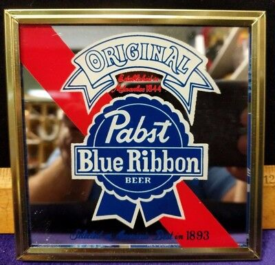 """NOS Small/Vintage 80s Carnival Fair Prize Pabst Beer Bar Mirror 4.5"""" (Lot C)"""