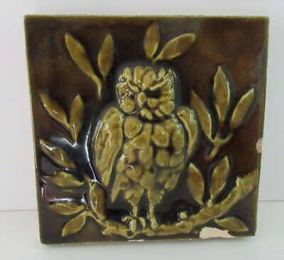 Maw & Company Art Pottery Tile Relief Decorated Owl Glossy Green Glaze