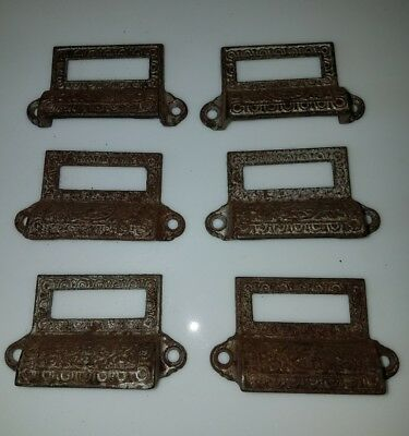 6 Antique Apothecary Cast Iron Drawer Pulls Drug Store Bin Label Steampunk Old