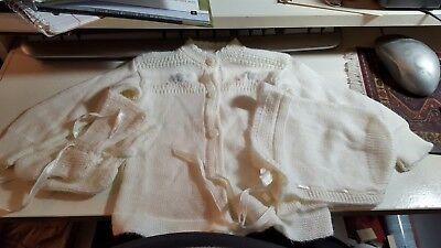 Vintage, Baby Clothes,Bonnet, Sweater,& Booties, Cream, Orlon mid-century