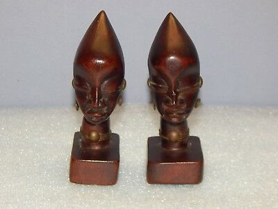 Pair Of Vintage African Ironwood Carvings With Metal Decor Tanganyika Signed