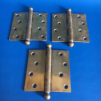 "Antique, Heavy Duty Brass 4 ½"" X 4 ½"" Hinges"